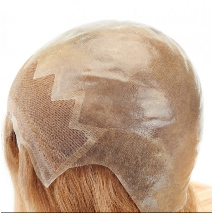 Full skin cap with lace front injected hair blond color wig for women