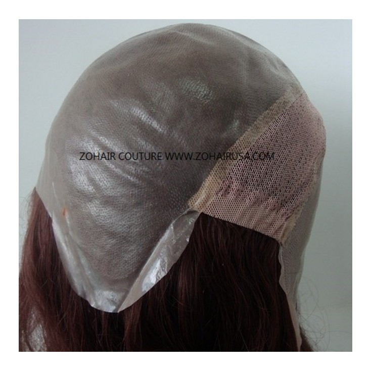 NTW4:All skin Polyurethane Base with stretchable net behind crown women's wig